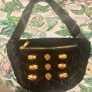 Handbags - Black Velour Belt Bag w/ Brass Hardware
